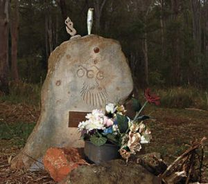 At one with nature … a headstone at Lismore's bushland cemetery.
