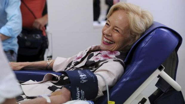 Governor General, Quentin Bryce, donates blood at the refurbished Australian Red Cross Blood Bank at Garran.