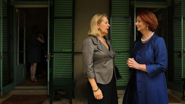 Serious stuff: the Prime Minister in conversation with Anne Summers at Kirribilli House on Monday.
