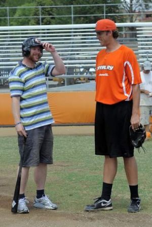 Canberra Times reporter David Polkinghorne before facing Cavalry pitcher John Holdzkom.