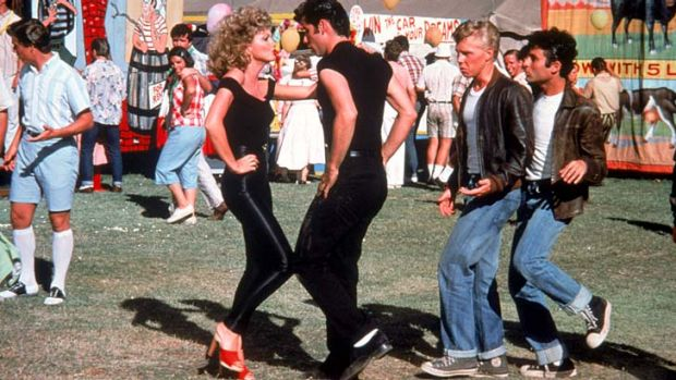 Grease and cheese ... Newton-John and Travolta in the finale of their film.