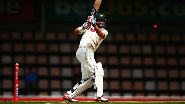 Nobody home … Mike Hussey attacks in Hobart.