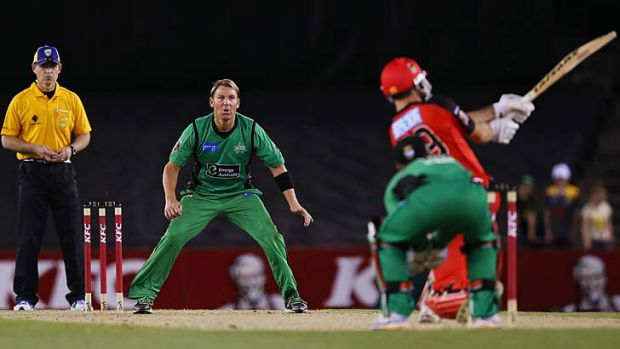 Surreal … Ben Rohrer smashes Stars bowler Shane Warne for six in the opening round of the Big Bash League.