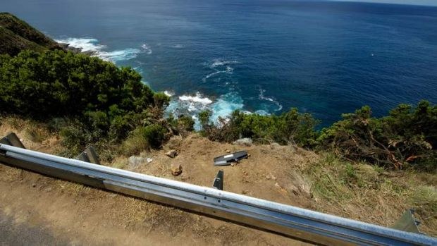 The site where a vehicle went over a cliff at Cape Patton.