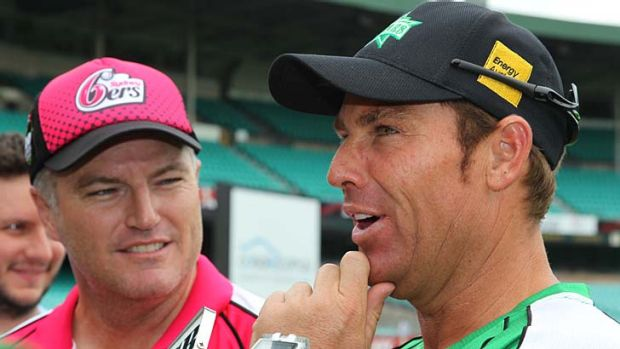 Stuart MacGill and Shane Warne during the 2011 Big Bash League.
