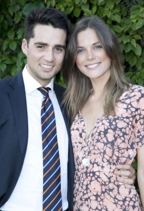 Well suited: Lewis Romano and Emma Jager at the Stokehouse Caf? housewarming.