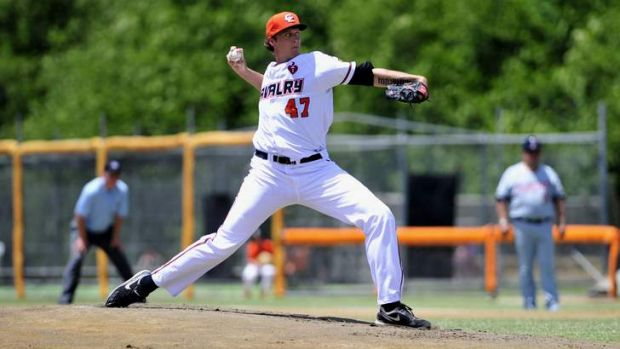 Canberra Cavalry pitcher John Holdzkom won his first game for the club on Saturday.