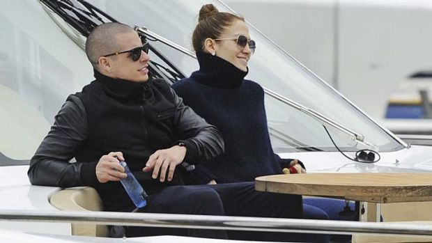 Cruising Sydney Harbour ... Jennifer Lopez with her boyfriend Casper Smart.