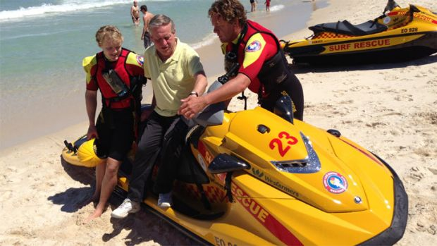 WA Premier Colin Barnett checks out one of 12 new jet-skis aimed at preventing shark attacks and making Perth beaches safer.