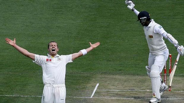 Demolition man … Peter Siddle celebrates the wicket of Angelo Mathews. The Victorian finished with another ...