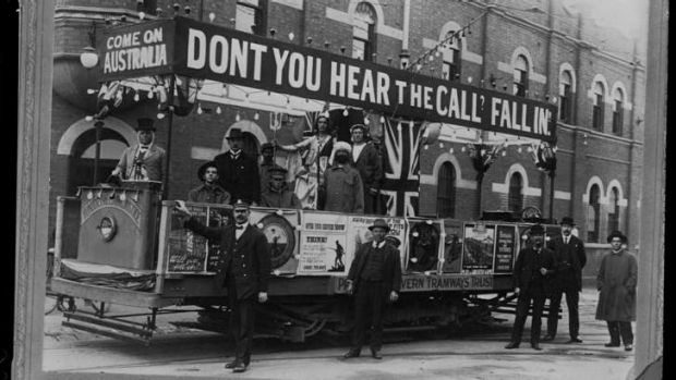 Melbourne's trams: Recruiting during World War I.