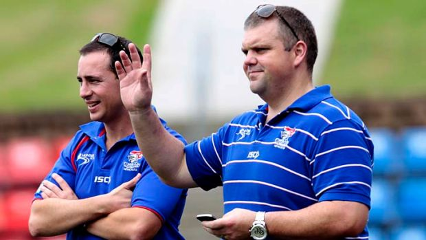 Staying put … Nathan Tinkler with Troy Palmer.