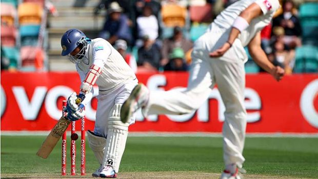 Stood up when it mattered … Sri Lanka's Tillakaratne Dilshan is finally bowled for 147 by Australia's Mitchell ...
