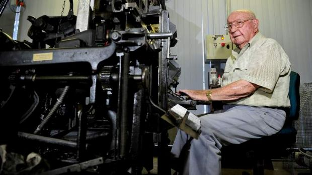 Jim Woods, 99, pictured with a Linotype model 14.