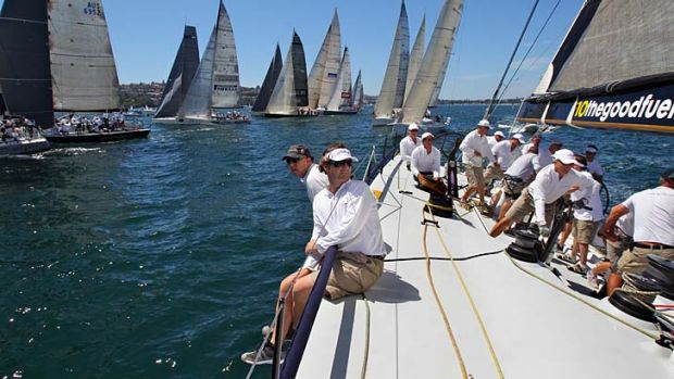 The crew on board Lahana at the start of race 2 of the CYCA-Trophy Passage Series.