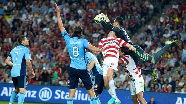 Sydney FC keeper Vedran Janjetovic pulls off a spectacular save during the game against the Western Sydney Wanderers on ...