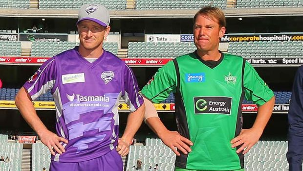 A bit of respect: George Bailey (left) and Shane Warne before the coin toss.