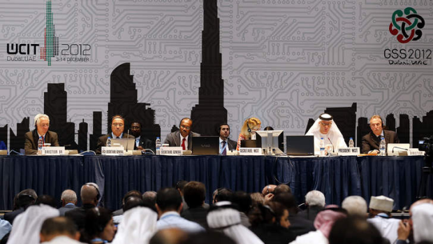 Hamadoun Toure (centre),  secretary general of the International Telecommunication Union (ITU), addresses a joint press ...