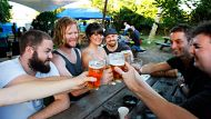 NCH NEWS. SUMMER HERALD story on beer gardens. Pic shows (L-R) Mitchell Corbett of Mayfield, Josh Trahair of Merewether, ...