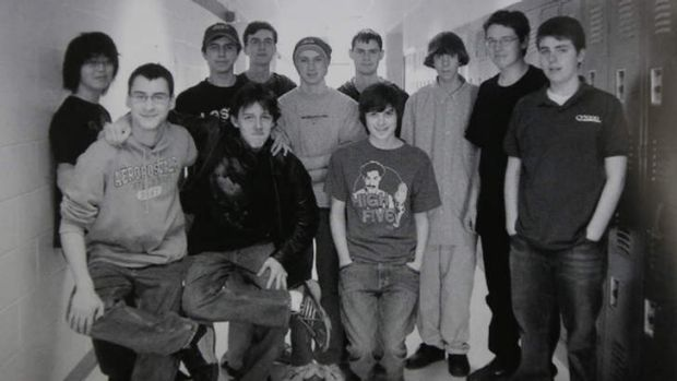 'We were not in favour of first-person shooter games' ... Adam Lanza, third from right, with members of the technology ...