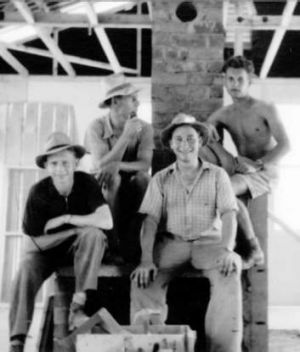 Fritz Ickinger, Franz Fischer, Eberhard Clement and Klaus Scharrer on site at house in Sundew Crescent, O'Connor in the ...