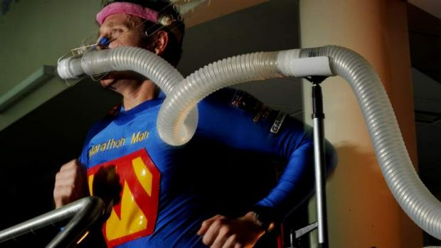 Trent Morrow in a VO2 max test at the AIS.
