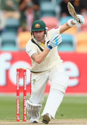 Retired hurt ... Clarke sustained the injury during his second innings of 57 on Monday.