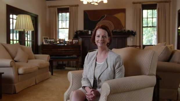 Renovation rescue ... Prime Minister Julia Gillard in the drawing room of The Lodge in Canberra last week.