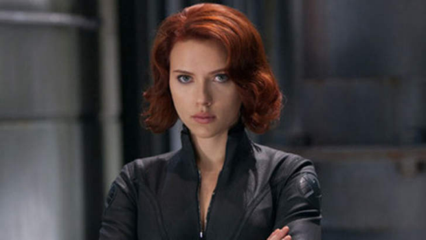 Scarlett Johansson as Black Widow in The Avengers.