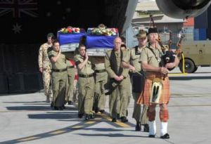 Private Grant Kirby and Private Tomas Dale,  killed in Afghanistan on 20 August 2010, return home in a solemn ceremony ...