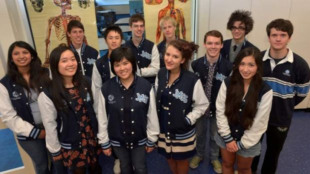 Some of the first Year 12  students to graduate from John Monash Science School, which recorded a remarkable ATAR score rate.