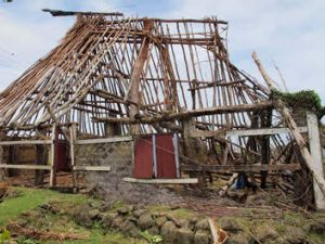 Destroyed ...  a traditional Fijian village home also known as a bure.