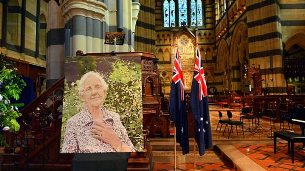 Fondly farewelled ... a portrait of Dame Elisabeth Murdoch inside St Paul's Cathedral, Melbourne.