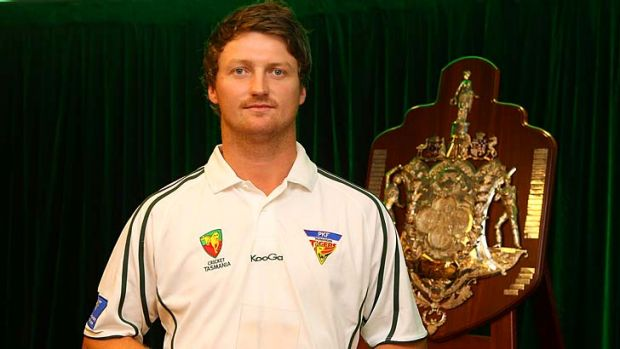 Jackson Bird of the Tasmanian Tigers with his Bupa Sheffield Shield Player of the Year award at the 2012 State Cricket ...