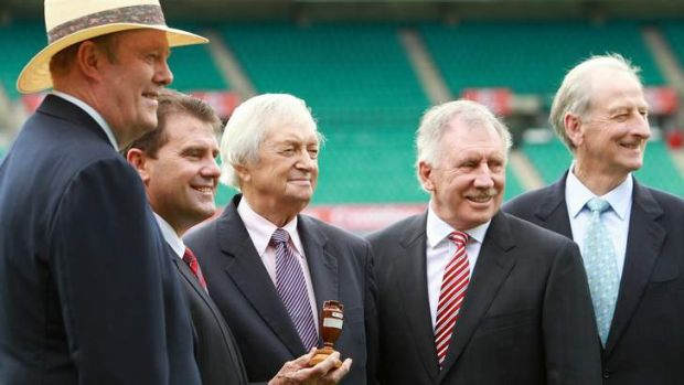 At the 2010-11 Ashes launch (from left), Tony Greig, Mark Taylor, Richie Benaud, Ian Chappell and Bill Lawry.