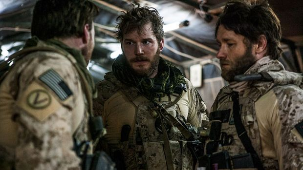 Who said what? ... Chris Pratt (centre) and Joel Edgerton (right) in a scene from <i>Zero Dark Thirty</i>.