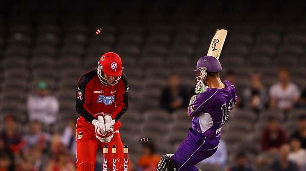 Sent packing: Ricky Ponting is bowled by Muthiah Muralidaran last night.