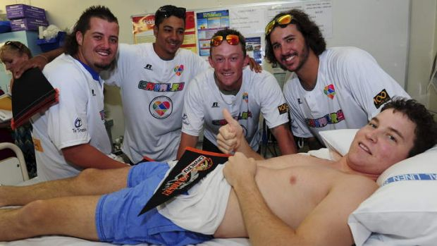 Matt Read, 20, of Tumut meets Cavalry players (l-r) Aaron Sloan, Jonathan Jones, Marcus Knecht and KC Hobson.