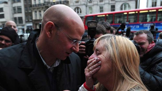 Margaret Aspinall (right), who lost her son James in the disaster, is comforted after the High Court quashed the ...