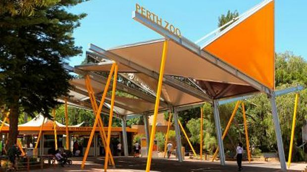 Perth Zoo's new look entryway features new shade structures, Australian-inspired gardens, improved signage and an ...