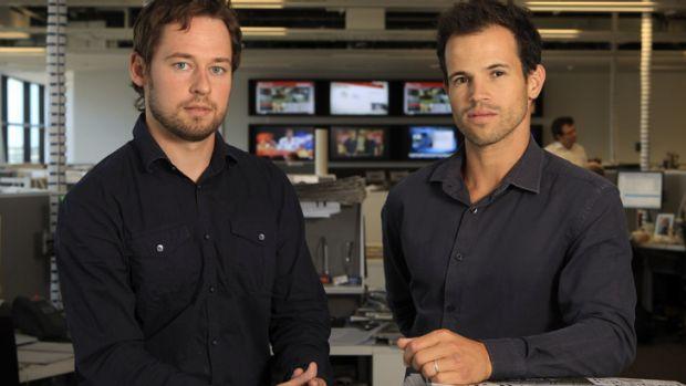 <i>The Age</i> investigative reporters Nick McKenzie, left, and Richard Baker.