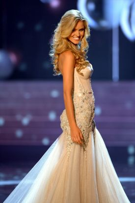 Miss Australia, Renae Ayris, stands on stage during the 2012 Miss Universe Pageant at Planet Holywood in Las Vegas, ...