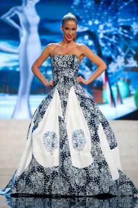 Miss Slovak Republic 2012, Lubica Stepanova, performs onstage at the 2012 Miss Universe National Costume Show on Friday.