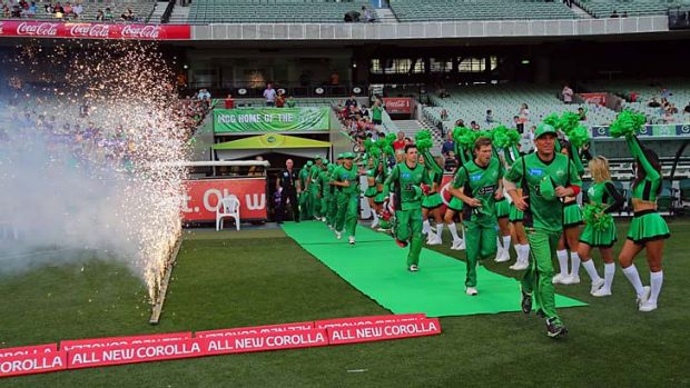 Pump it up … Shane Warne, dancing girls and fireworks failed to draw a big crowd when the Melbourne Stars faced ...