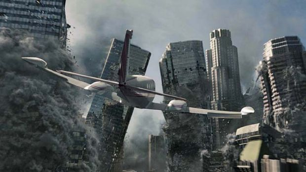 Destruction: a still from a film depicting the end of the world, 2012.