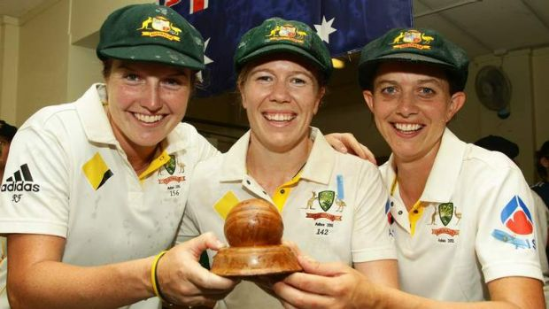 Rene Farrell, left, with Alex Blackwell and Sarah Elliott after winning the Ashes in January 2011. Farrell will make her ...