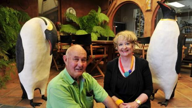 Alan and Julie Aston with their Emperor Penguin sculptures that are being made for Sydney's <i>Sculptures by the Sea</i> ...