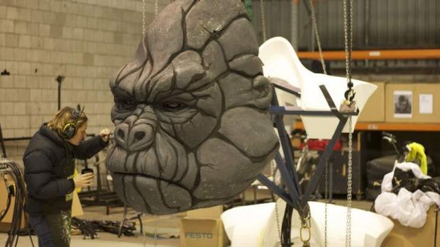 Specialist fabricator Nerissa Box working on Kong's face.
