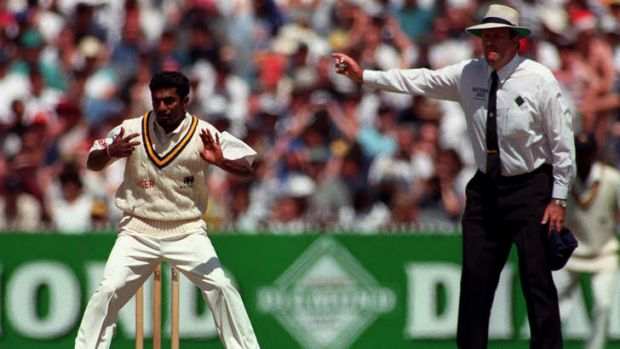 Umpire Darrell Hair gives his infamous ruling in 1995.