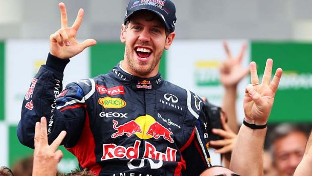 Sebastian Vettel celebrates his third consecutive drivers world championship in November, 2012. Ferrari chairman Luca di ...